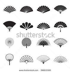 Illustration of Hand fan icons. Collection of handheld icons isolated on a white background. Icons of folding and rigid fans. Vector illustration vector art, clipart and stock vectors. Motif Art Deco, Art Deco Design, Design Design, Fan Drawing, Jugendstil Design, Fan Tattoo, Hand Held Fan, Hand Fans, Japanese Patterns