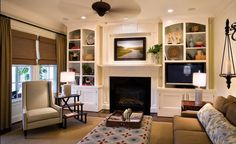 Traditional Living Room Built In Bookcase Design, Pictures, Remodel, Decor and Ideas - page 5 Built In Around Fireplace, Living Room With Fireplace, Home Living Room, Living Room Designs, Living Room Decor, Living Spaces, Apartment Living, Apartment Ideas, Fireplace Bookshelves