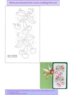 ED124 Cherry on Craftsuprint designed by Emy van Schaik - Stitching with beads - Now available for download!