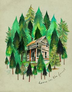 Hey, I found this really awesome Etsy listing at https://www.etsy.com/listing/563943061/home-in-the-forest-cabin-painting