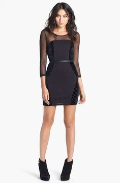 Mink Pink MINKPINK 'Roller Disco' Mixed Media Body-Con Dress