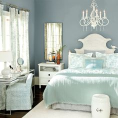 MIRROR - Spa blue bed linens and white furniture feel relaxing and pulled together. Best Gray Paint Color, Best Bedroom Paint Colors, Living Room Color Schemes, Living Room Grey, Beige Headboard, Beige Bed Linen, Blue Bedding, Bedding Sets, Design Moderne