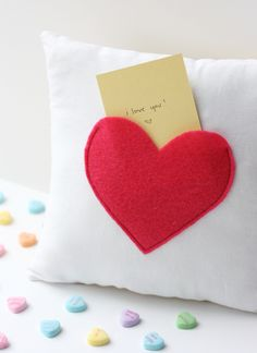 Pocket Pillow by @crazylittleproj | Valentine's Day Pillow | Heart Pillow
