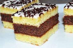 O delicatesa culinara pentru gurmanzi este savuroasa Prajitura cu blat de vanilie si ciocolata. Straturile de vanilie si cel de ciocolata impreuna cu glazura de ciocolata si cea de lamaie, formeaza un desert fabulos. Ingrediente Prajitura cu blat de vanilie si ciocolata: 250 grame faina 250 grame zahar 125 grame Romanian Desserts, Cheesecake, Cream Cake, Desert Recipes, Cake Cookies, Sweet Treats, Good Food, Food And Drink, Cooking Recipes