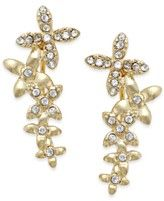 Bar III Gold-Tone Crystal Flower Ear Climbers
