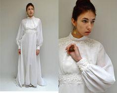 Chiffon Lace Wedding Gown  //  70s Wedding Dress  //  BELGIUM BEAUTY by VintageUrbanRenewal on Etsy
