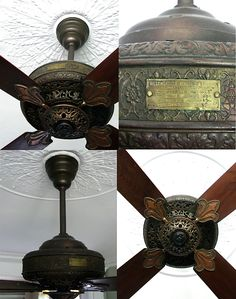Westinghouse DeLuxe AC Ceiling Fan Circa 1910, American. Antique Ceiling Fans, Westinghouse Electric, Old Fan, Vintage Fans, Electric Fan, Old Furniture, First Home, Design Elements, House Appliances