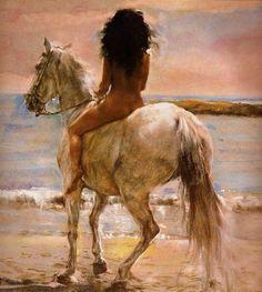 Women in art: Jose Luis Fuentetaja Romantic Paintings, Beautiful Paintings, Figure Painting, Painting & Drawing, Horse Art, Indian Art, Erotic Art, Art Forms, Female Art