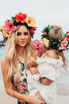 Matching flower crowns on @amanda_stantonn and her daughter. So precious! xo