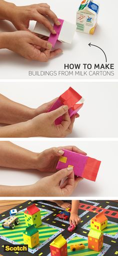 Build a city worth driving through with this quick and easy DIY craft idea for your kids. Just use Scotch Expressions masking tape to cover empty and cleaned-out milk cartons and place them on the floor for your kids to play with.