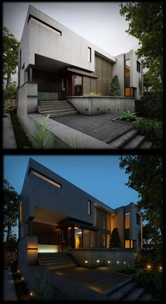 """""""AFTER"""" (abandoned) PIC ABOVE // House on a Ravine: Texturing, Lighting and Rendering tutorial by Serkan Çelik Architecture Visualization, Architecture Portfolio, Residential Architecture, Interior Architecture, Cgi, 3d Max Vray, 3d Studio, Beautiful Buildings, Facade"""