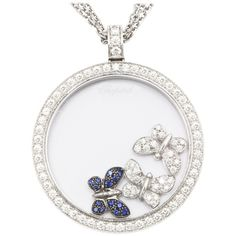 White Gold Chopard Happy Diamonds Butterfly Necklace | From a unique collection of vintage drop necklaces at http://www.1stdibs.com/jewelry/necklaces/drop-necklaces/