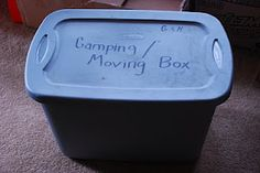 Safely Gathered In: How to: Make a Camping/Moving Box You are in the right place about House Moving packing Here we offer you the most beautiful pictures about the House Moving hacks you are looking f Big Bear Camping, Camping Box, Camping Gear, Camping Hacks, Camping Stuff, Camping Jokes, Camping Essentials, Backpacking, Moving Boxes