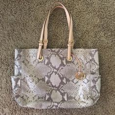 Michael kors snakeskin tote! Basically brand new condition. Used once! Michael Kors Bags Totes