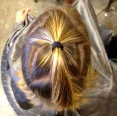 Star shaped hair color application-'peekaboo' color