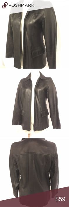 Black Leather Jacket size Small Great condition. No markings or holes. This REAL leather jacket is made by Express World Brand. It has two pockets and little loops for a belt(see pictures). Mannequin is a size 4/6 Express World Brand Jackets & Coats