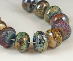 Burmese Relics - faux ancient trade beads, large donuts - Organic Handmade Lampwork Beads by Judith Billig, SRA