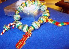Christmas Charm Bracelel  Stretch Large Bright by RedBudCrafts, $18.00