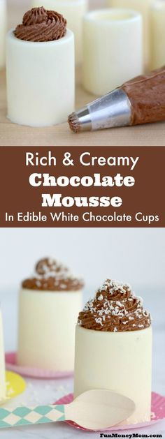 Your guests will be wowed when you serve these rich and creamy chocolate mousse desserts. Served in edible white chocolate cups, these mini desserts will be the hit of the party! #VinoBlockParty #ad