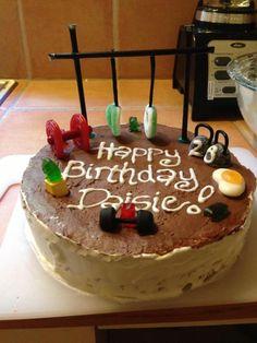 Daisie's CrossFit birthday cake! That gummi bear has a mean...