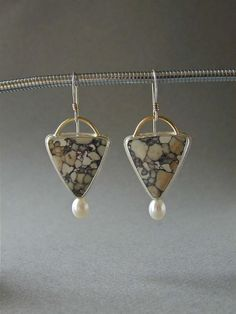 Betsy Bensen--Viper Jasper Earrings with Pearls.  Similar earrings by this artist range from $ 155.00 to 255.00.