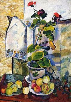 1907 Natalia Goncharova (Russian artist, 1881-1962) Geranium Still Life