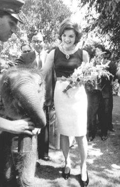 Jackie visits India((Mar,1962 .. Jackie with a baby elephant - one of the few pets Caroline and John John didn't have!  ♥❃❋✽✾❀❃ ♥   http://en.wikipedia.org/wiki/Jacqueline_Kennedy_Onassis