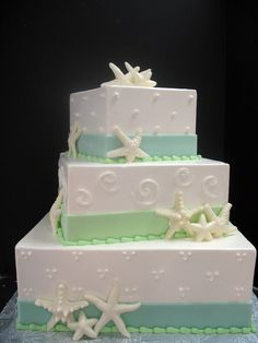 Wedding 28/ Key west cakes...Smaller version with swils & dots combined? Love the colors
