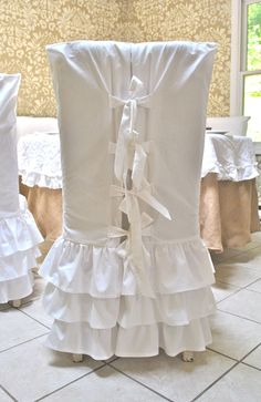 White Ruffled Chair Slipcover by PaulaAndErika on Etsy, $85.00 ...