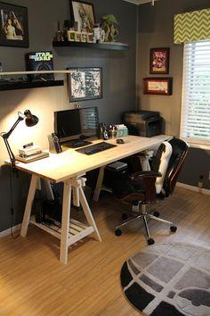 Nerdy Home Office Tour Ikea Finnvard Desk Death Star Rug