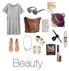 """""""Dressin' Up a T-Shirt Dress"""" by rla099274 ❤ liked on Polyvore featuring H&M and Maybelline"""