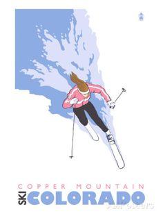 Copper Mountain, Colorado, Stylized Skier Art Print