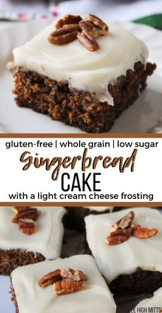 Gluten-free, whole grain Gingerbread Cake made low in sugar (thanks to applesauce) and complete with a light cream cheese frosting on top. This Gingerbread Cake is moist, healthy, and easy to make ahe Patisserie Sans Gluten, Dessert Sans Gluten, Paleo Dessert, Dessert Recipes, Cake Recipes, Low Sugar Desserts, Healthy Desserts, Easy Desserts, Low Sugar Cakes