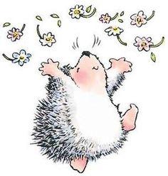 *Penny Black Rubber Stamp HEDGEHOG JOY Hedgehog