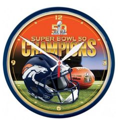 Denver Broncos Round Wall Clock - Super Bowl 50 Champion
