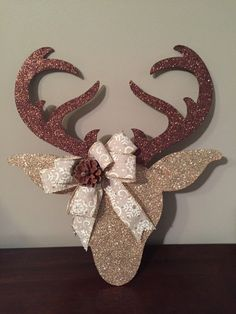 Items similar to Glittered Reindeer Door Hanger Holiday Door Hanger on Etsy Elf Christmas Decorations, Christmas Door, Felt Christmas, All Things Christmas, Christmas Holidays, Christmas Wreaths, Christmas Ornaments, Advent Wreaths, Craft Projects For Adults