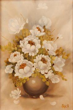 Fiori bianchi - olio su tela