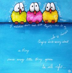 Three little birds by artist Lucia Stewart