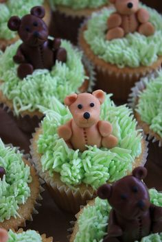 Teddy Bear's Picnic Cupcakes by ConsumedbyCake, via Flickr Fondant Teddy Bear, Teddy Bear Cupcakes, Teddy Bear Party, Teddy Bears, Picnic Birthday, 2nd Birthday Parties, 4th Birthday, Teddy Grahams, Cupcake Wars