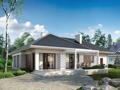 Projekt domu Driada 3 145,8 m2 - koszt budowy - EXTRADOM Three Bedroom House Plan, Modern House Plans, Home Fashion, Contemporary Style, Terrace, Beautiful Homes, Outdoor Structures, How To Plan, Mansions