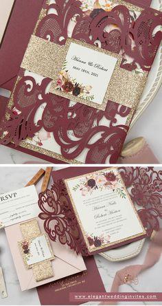 burgundy and glitter gold laser cut wedding invitation with matching invites #ewi #weddinginvitations