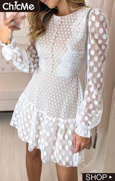 Dot Sheer Mesh Eyelash Lace O Neck Long Sleeve Casual Dress Dresses Elegant, Casual Dresses, Fashion Dresses, Sexy Dresses, Lace Dresses, Dress Lace, Pretty Dresses, Comfy Dresses, Pink Dresses