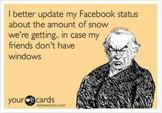 All the people complaining and whinging today about our 'snowstorm' (paltry one inch) please hand me your NY cards on your way out. Thank you, good-day.