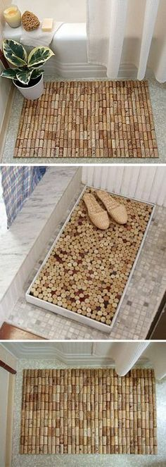 Alfombras de bao con tapones de corcho Check out Dieting Digest Pot Mason Diy, Mason Jar Crafts, Wine Cork Crafts, Wine Bottle Crafts, Projects With Wine Corks, Wine Bottles, Diy Simple, Easy Diy, Diy Hanging Shelves