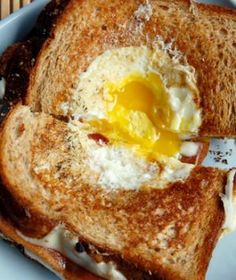 Egg in a basket -- a breakfast with simple and complex carbs and protein. Good for recovery after a hard workout.
