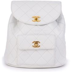 Chanel Vintage quilted backpack (14.120 BRL) ❤ liked on Polyvore featuring bags, backpacks, backpack, chanel, white, white backpack, quilted backpack, white drawstring backpack and vintage backpacks