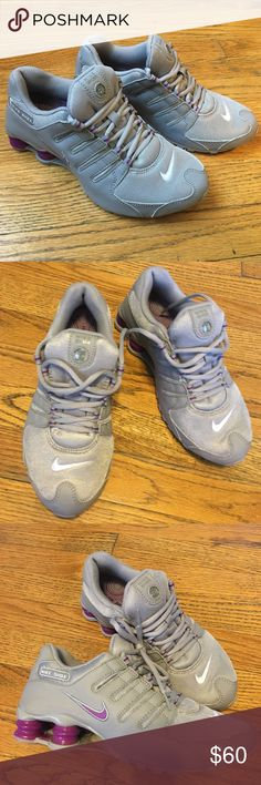 Women Nike Shox NZ - Sz 6.5 Grey/Bold Berry These running shoes are in like new Condition only worn a few times. The Nike Shox NZ features a condo of leather and synthetic upper durability, hilly lacing system for a lockdown fit and the columns are cushioning. Nike Shoes Athletic Shoes