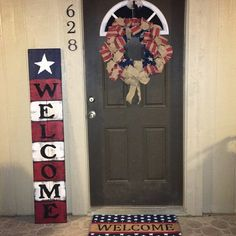 HOME Porch Sign Welcome Barn Red Wreath Personalized Pip Berry Reversible Option Two Sided Family Wood Sign Hand Painted Porch Welcome Sign, Welcome Wreath, Reclaimed Wood Signs, Rustic Signs, All Season Porch, Family Wood Signs, Independance Day, Porch Signs, Door Signs