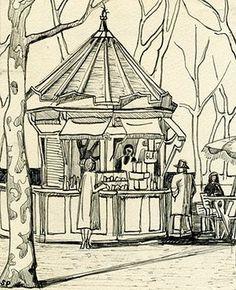 Sylvia Plath sketches: Citronnade, Tuileries
