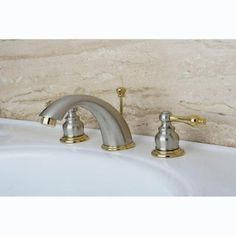 Kingston Brass Victorian 8 in. Widespread 2-Handle Mid Arc Bathroom Faucet in Satin Nickel and Polished Brass-HKB979AL at The Home Depot